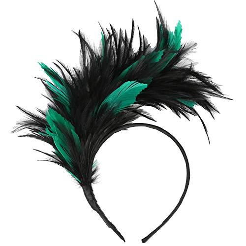 Coucoland, cerchietto anni '20 per capelli, con piume, da donna, per feste, anche a tema Gatsby nero/verde Taglia unica