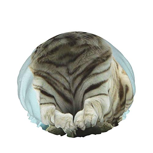Bianco Tiger Mago Design Cuffia Doccia Per Le Donne Capelli Lunghi Multifunzionale Impermeabile Riutilizzabile