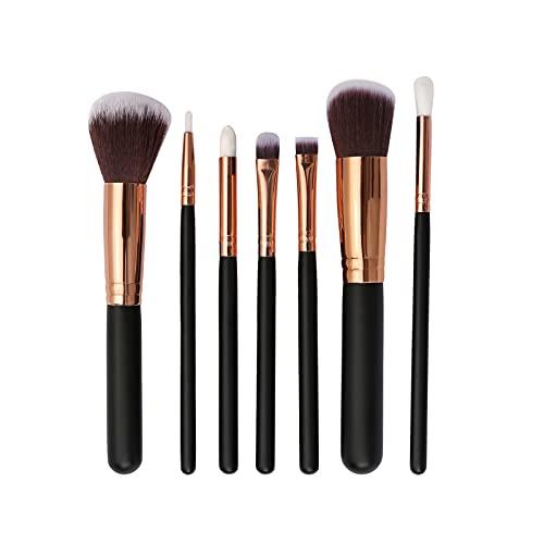 Set di 7 pennelli da trucco con borsa per principianti, professionale, per ombretto, fard, labbra, cipria, in fibra sintetica, nero e oro rosa