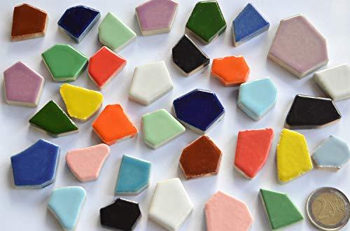 200 grammi (circa 35 pezzi), mosaico in ceramica, resistente al gelo, lucido, mix colorato 1-4 cm, spessore ca. 6 mm