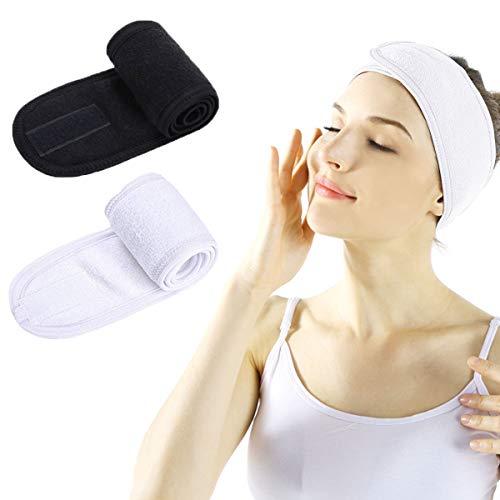 PIKABU 3 Pezzi Fascia Sportiva per Capelli Regolabile in Spugna con Chiusura in Velcro per Spa Cosmetici Yoga (Nero + Bianco)