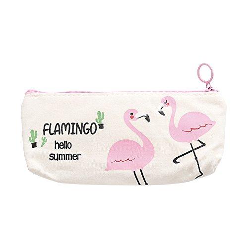 doitsa 1pcs Flamingo Tela astuccio Ins stile bello Astuccio Scuola necessità per bambini cosmetici borsa per donne 19.6cm*10cm, Tela, # 1, 19.6*10cm