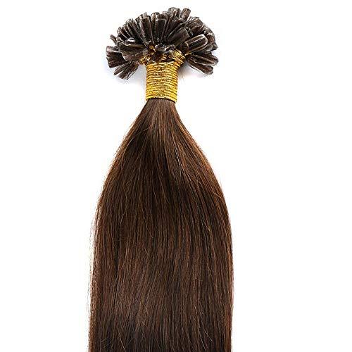 Extension Capelli Veri Cheratina 200 Ciocche 100% Remy Human Hair U-tip Allungamento, 40cm - 100g, 04# Marrone Cioccolato