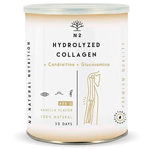 Collagene Idrolizzato in Polvere Glucosamina e Condroitina Ultra Protezione Cartilagine Potenziamento Cura di Articolazioni Pelle e Ossa Acido Ialuronico Magnesio Vitamina C 400gr N2 Natural Nutrition