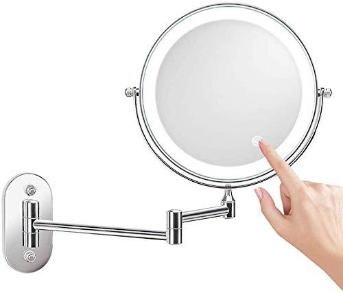 MRJ Specchio Ingranditore da Parete con Luce LED,Specchietto da Trucco Ingrandimento X10 Luminosità Regolabile,Girevole Orizzontali a 360 ° e Verticali Braccio Pieghevole 8 Pollici