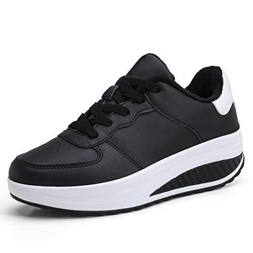 Sneakers Donna Scarpe Fitness Dimagranti Outdoor Sportive Anti Scivolo(EU 39, Bianco e Nero)