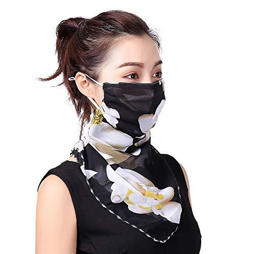 INSUPER Maschera per il viso e la sciarpa di seta, passamontagna bandana protezione solare UPF 50+protezione UV, spedizione di Logistica di Amazon dal Regno Unito. Fiore nero M