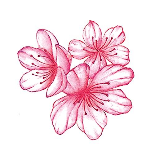5 fogli adesivi per tatuaggi con fiori di pesco dipinti a mano con braccio impermeabile per clavicola adesivi per tatuaggi con fiori di ciliegio