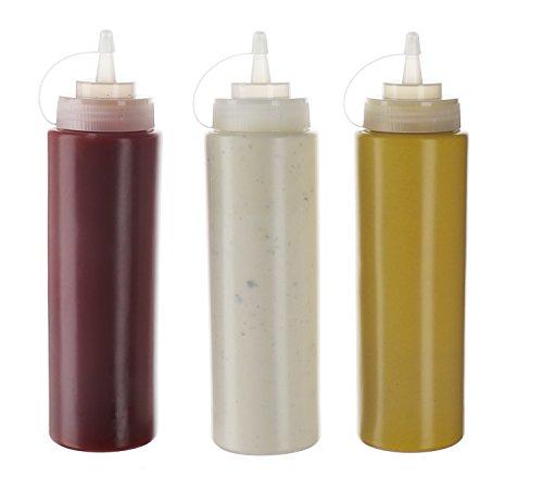 Confezione da 3 flaconi da 590 ml in plastica con tappo a vite, contenitori per olio di oliva Ketchup, senape Mayo, salsa piccante, senza BPA, per cucinare
