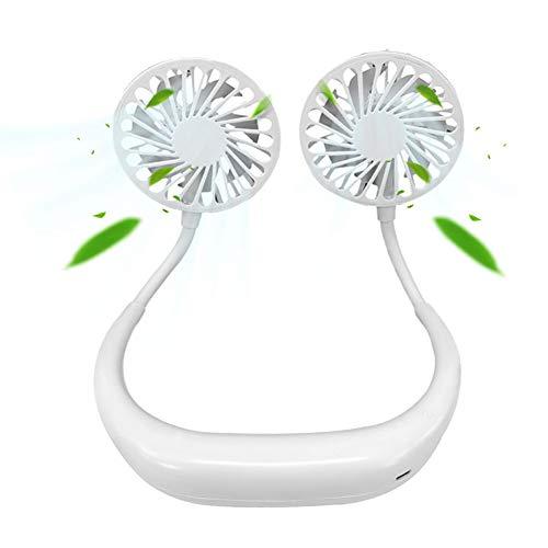 Hqm Pigro Neck Fan USB Ricaricabile Mini indossabile Neck Fan, Luce elettrica Doppio Collo Viso con LED, Campeggio di Corsa Esterna, Aromaterapia Ufficio,Bianca