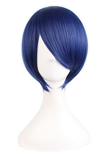MapofBeauty 25cm/ 10 Pollice Medio Lisci Uomo Lisci Parrucche (Scuro Blu)