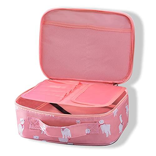 Timertick Beauty Case da Viaggio, Borsa Make Up Cosmetica Doppia Strato, Borsa da Toilette Impermeabile per Donna (Alpaca)