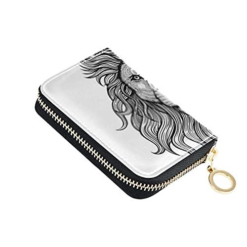 Portafoglio per carte, nero bianco tatuaggio re leone piccolo porta carte di credito in pelle con cerniera porta passaporto da viaggio per uomo donna con portachiavi