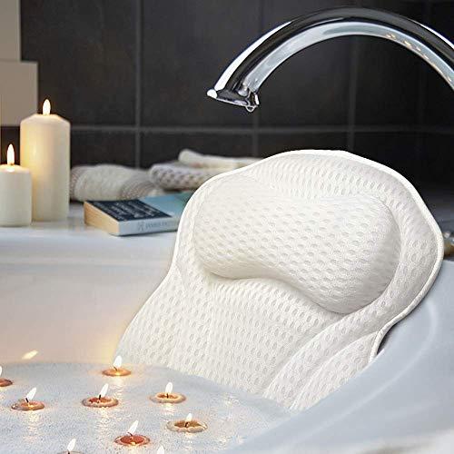 AmazeFan - Cuscino per vasca da bagno e spa con tecnologia 4D Air Mesh e 6 ventose, supporto per testa, schiena, spalle e collo, adatto per vasche da bagno, vasche idromassaggio e spa