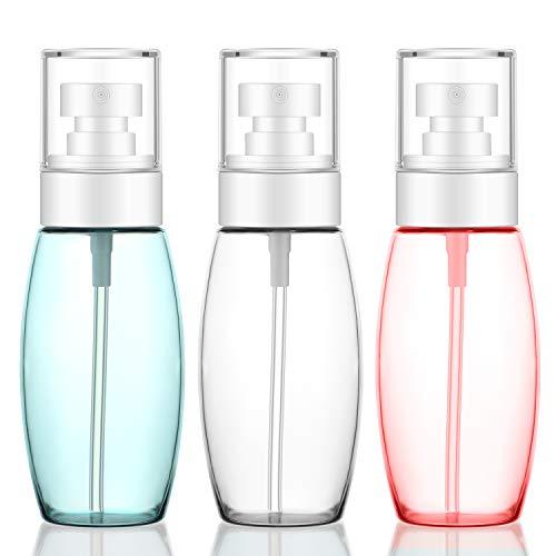 Flaconi spray da viaggio 3pcs, Segbeauty Fine Mist 100ml Spruzzatore approvato ricaricabile a prova di perdite in plastica per spray viso, olio essenziale, capelli ricci, pulizia