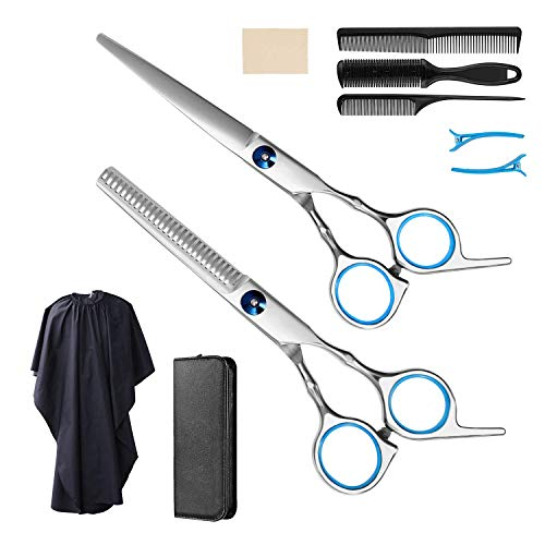 Forbici parrucchiere 9 Piece forbici sfoltire capelli MUSCCCM pettine capelli forbice sfoltire capelli in Stainless Steel, for Home Hair Cutting, Animal Hair Trimming and Professional Hair Salon