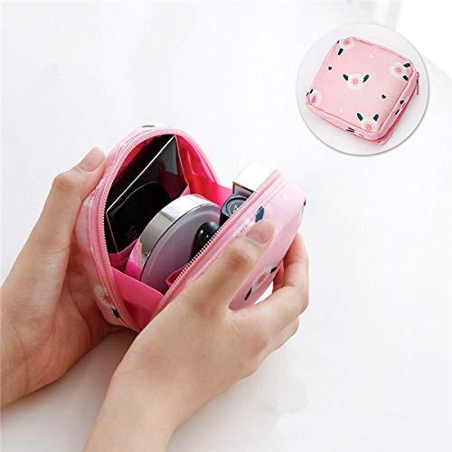 LSZA Borsa per Cosmetici,Flamingo Cosmetic Bag Women Necessaire Make Up Bag Travel Waterproof Portable Toiletry Custodia per Trucco Carina, Fiore Rosa
