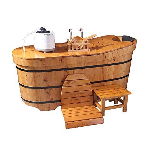 NQFL Vasca da Bagno Sauna Barile di Legno Vasca da Bagno Vasca da Bagno Sauna Sauna Home Hotel Allevia L'affaticamento Aroma Disintossicazione Bellezza Solid Wood(Standard 3)-1.3m