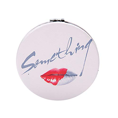 Fablcrew Specchio da Borsetta da Viaggio, Modello di Labbra Rosse di Lettera Size 7cm * 7cm