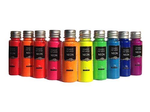 Resin Pro - Pigmenti Neon - Kit di Pigmenti Stupefacenti Misti, Compatibili con Resine Epossidiche, Poliuretaniche, Acrilici, Vernici, Creazioni Artistiche, Decoupage - Multicolore, 10 x 10 gr