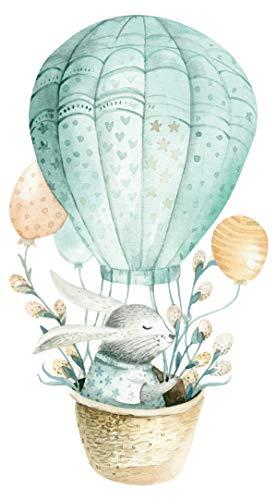 dekodino® Adesivo murale acquerello mongolfiera con coniglio animali deco