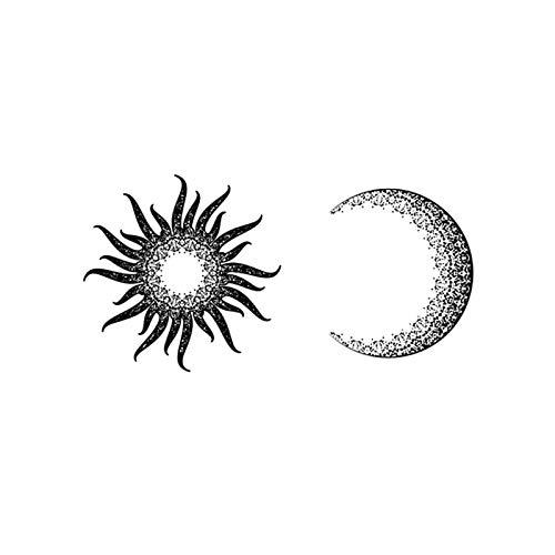 YLGG Il Sole e la Luna brillano Insieme Adesivi per Tatuaggi temporanei alla Moda, Adatti per Uomini e Donne, Impermeabili, Rimovibili, Non tossici e sicuri per Tutte Le Pelli