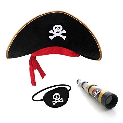 papapanda Cappello Pirata Toppa Dell'occhio Capitano Telescopio per Bambini