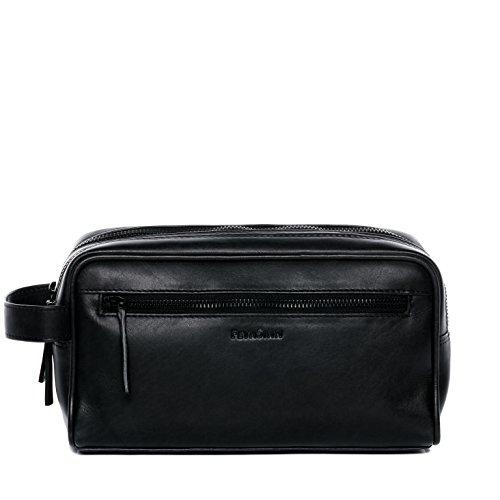FEYNSINN® borsa toiletry vera pelle FRIIS borsetta necessaire Toilette pochette beauty case da Viaggio uomo cuoio nero