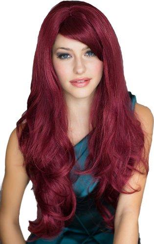 Annabelle's Pams-Parrucca da donna, Extra lunga, colore: rosso con riga laterale, con fondo rimovibile e Big Curls Peggy Soo: 250 g