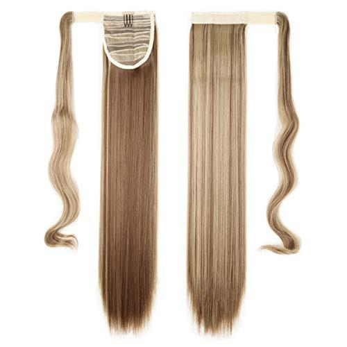 Hair Extensions Wrap on Ponytail Extension Capelli Veri Coda di Cavallo Parrucchino Ombre 58cm Dritto Castano chiaro & biondo cenere