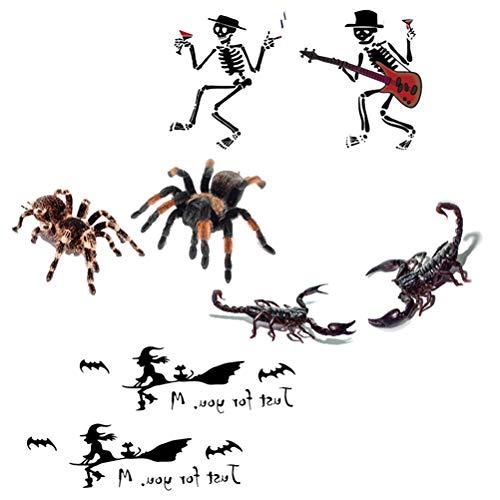 Abaodam, 4 adesivi per tatuaggio con motivo a teschio, per lo scorpione, ragno e strega, impermeabile, per attività di tatuaggio, body art, strumenti per il make up, accessori per feste