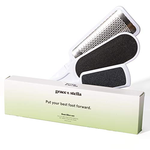 Grace and Stella Callus Remover Foot Files | Pedicure File for Soft Feet (3 Piece Set) | Includes 2 Double-Sided Foot Files + 1 Pedicure Foot Rasp | Pedicure Supplies