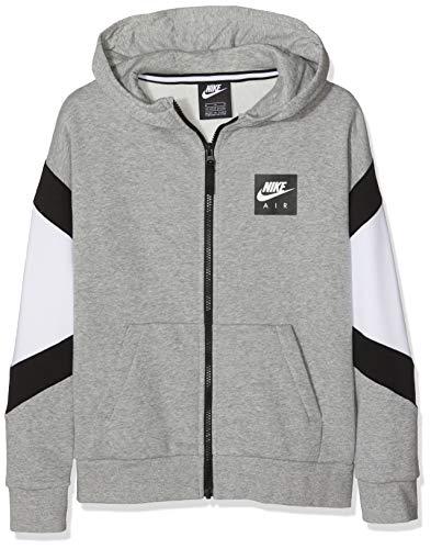 Nike B Nk Air FZ Felpa, Bambino, Dk Grey Heather/Bianco/Nero/Nero, S