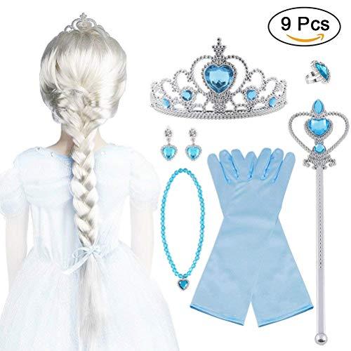 Vicloon Corona Principessa Bambina Bacchetta Magica, 9Pcs Set di Costumi per Ragazze Costume per Elsa, Corona Diadema, Guanti, Bacchetta Magica, Parrucca, Squillare e Orecchinoper Bambina 2-9 Anni