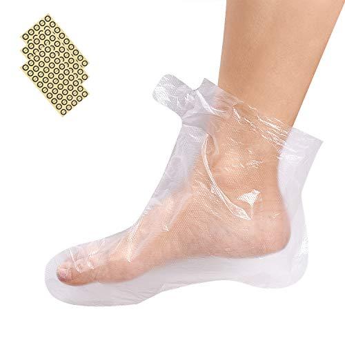 Noverlife 200PCS Stivaletti usa e getta in plastica trasparente, Fodere da bagno in paraffina per pedicure Trattamento con cera calda termale, Fodere protettive per copri piedi