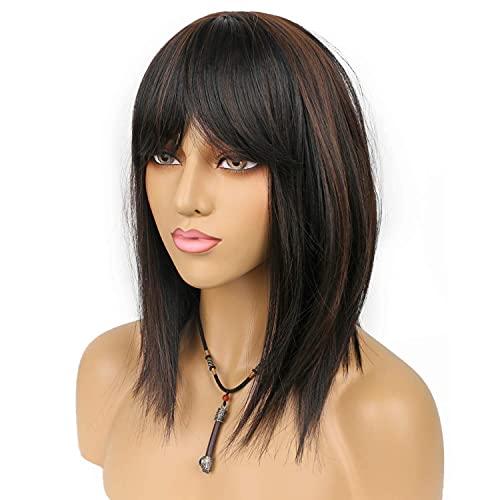 Parrucche lunghe e dritte con frangetta, colore nero naturale misto, colore castano chiaro, con frangia ordinata, per donne e feste, uso quotidiano