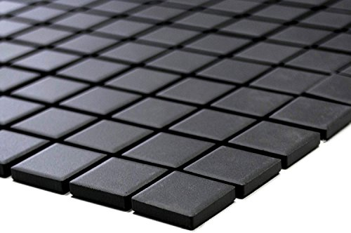 Piastrelle a mosaico, quadrate a tinta unita, non smaltate, antiscivolo, R10, in ceramica, antiscivolo, antiscivolo, formato: 25 x 25 x 5 mm, dimensioni foglio: 327 x 302 mm, 1 foglio