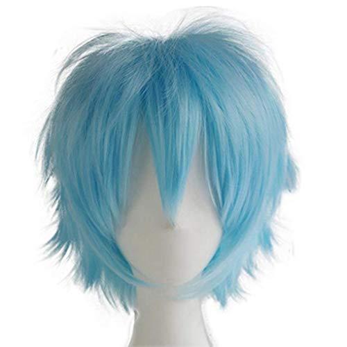 S-noilite - Parrucca per cosplay anime, unisex, a testa corta, con frangetta, capelli lisci e soffici, con coda di capelli voluminosi, per feste in maschera (azzurro)