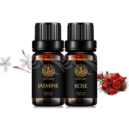 Aphorsmile EU, olio essenziale puro e naturale al 100%, rosa/gelsomino, 2 flaconi da 10 ml, migliore effetto di regolare l'enddocrina femminile, allevia l'ansia e la migliore cura della pelle