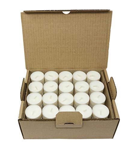Tazza compostabile Luci da tè Compostaggio industriale Cera vegetale Cera di colza Tealights Tempo di combustione 4 ore Confezione da 80 candele Senza profumo Senza plastica
