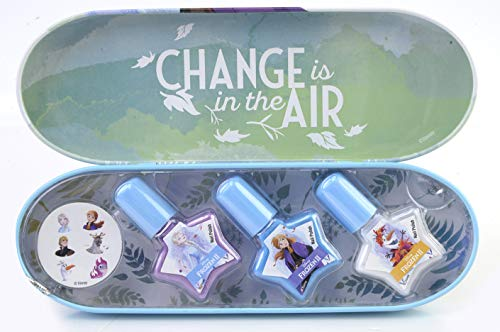 Disney Frozen Enchanting Destinations Nail Polish Tin - Set Manicure per Bambine - Astuccio Frozen in Latta con Kit Smalti Bambina e Adesivi Unghie - Giochi Frozen e Regali per Bambini