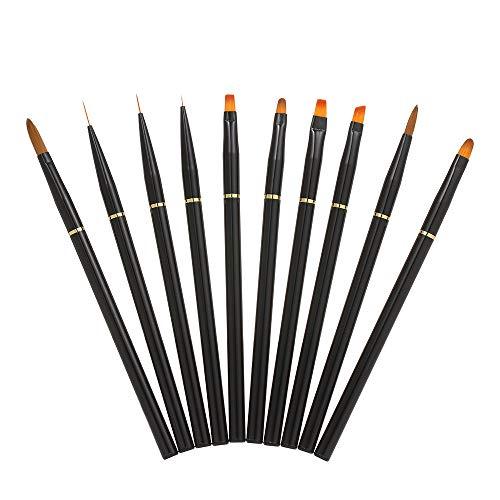 Anself 10 pezzi pennello per unghie acrilico,materiale metallico di alta qualità,Gel UV Spazzola per unghie Builder Pittura Disegno Nail Pen Set Strumento per unghie professionale