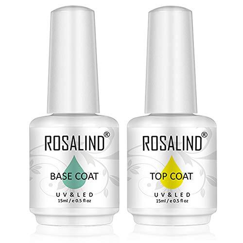 ROSALIND 15ML Smalto Semipermanente,6pcs Set Gel Colori Unghie Grigio per Manicure Smalti Semipermanente (base&top coat)