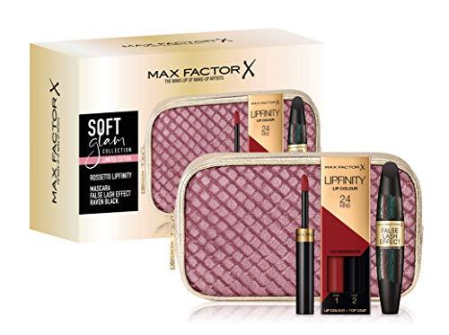 Max Factor, Confezione Regalo Donna Soft Glam Collection, Pochette con Rossetto Lipfinity Lip Colour (110 Passionate) e Mascara Volumizzante False Lash Effect (Raven Black)