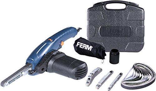 FERM Lima a nastro di precisione 400W Incl. braccio largo 13mm, braccio stretto 8mm, braccio angolato 13mm e 12 nastri abrasivi