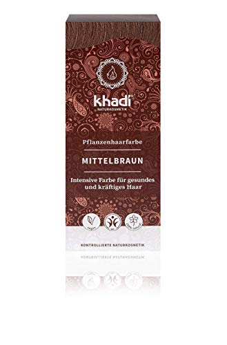 KHADI - Tinta Vegetale in Polvere Castano Medio - 100% Naturale - Per tutti i tipi di capelli - Rinforzante e Nutriente - Certificato BDIH - Vegan - 100 gr