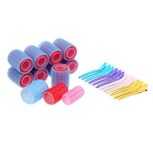 Rulli per Capelli Self Grip, 30 pezzi Bigodino per Parrucchiere con 12 Fermaglio per Capelli e DIY Strumento di Arricciatura (44mm, 35mm, 27mm) - Set di Colori Misti (Blu, Rosso, Rosa)