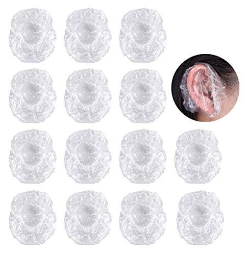 Copri Orecchie,Monouso Paraorecchie 100 pezzi Trasparenti Doccia Caps Impermeabili Copertura dell'Orecchio Cuffie Protettive per Tinta per Capelli Doccia Bagno Spa