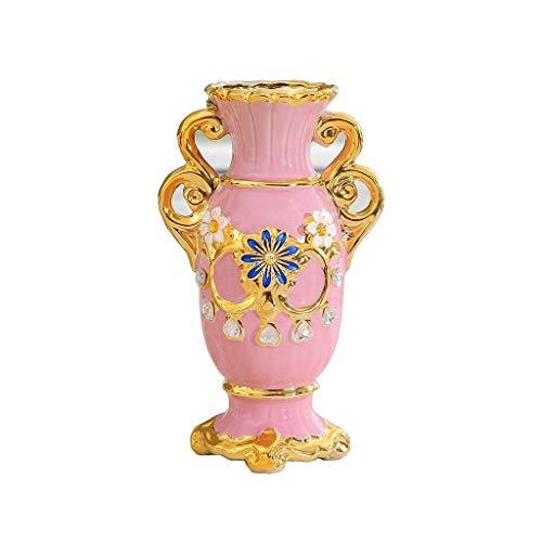 Vaso, in Stile Europeo Vintage Ceramica Grande Vaso di Fiori Soggiorno Tavolo da Pranzo Centro Tatuaggi Camera Ufficio Hotel Decorazione Domestica Dipinta a Mano Alta Decorativo, 15x25cm