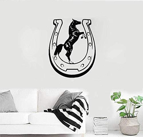 Motivo a ferro di cavallo Modello Cavallo Cowboy Parlor Tatuaggio Adesivi murali in vinile Adesivi murali interni Art Deco 56x70cm